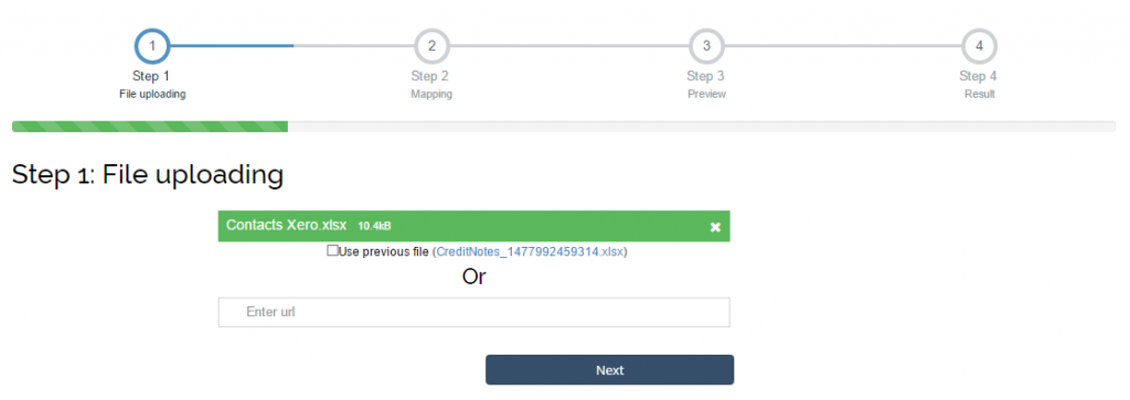 import contacts into Xero: upload the file