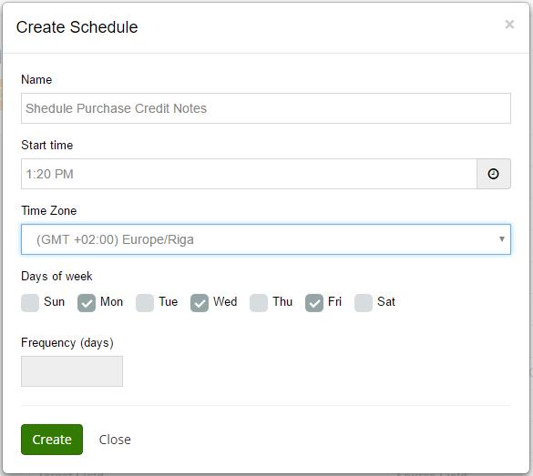 create schedule