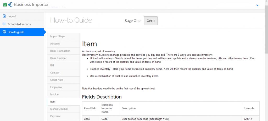 import items into Xero - guide