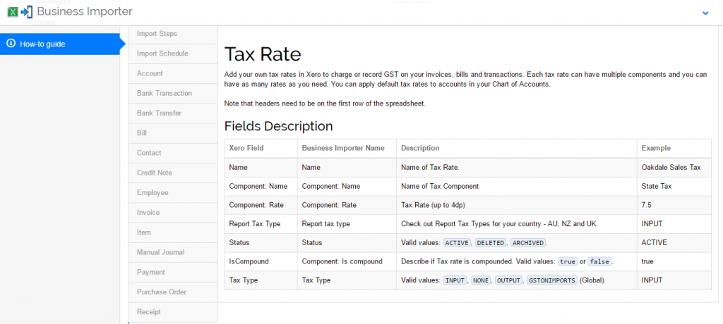 import Tax Rates into Xero