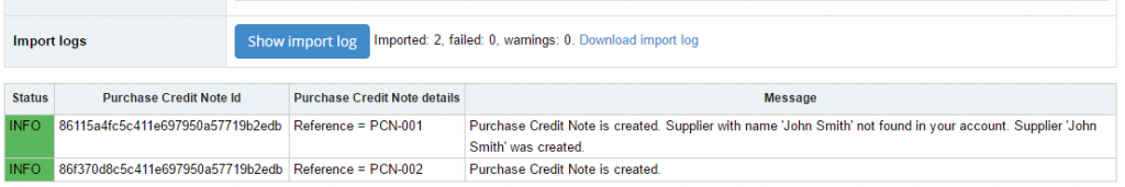Import Purchase Credit Notes into Sage One: import log