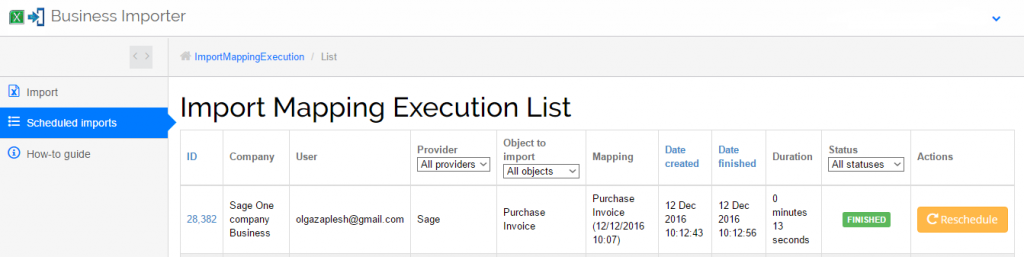Import Purchase Invoices into Sage One: import results