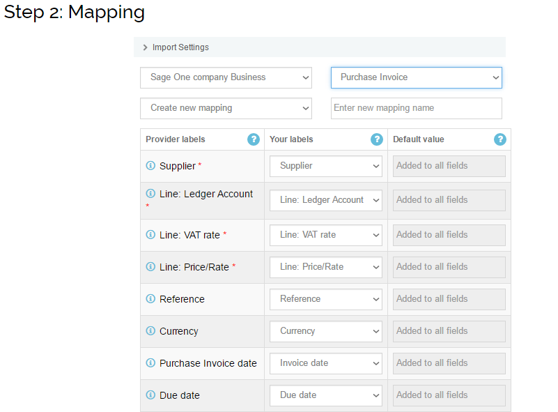 Import Purchase Invoices into Sage One: mapping