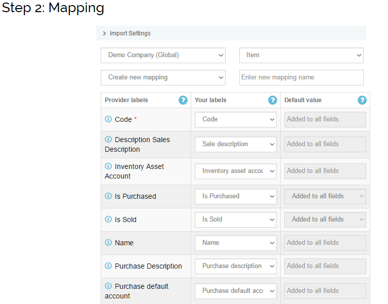 import items into Xero - mapping