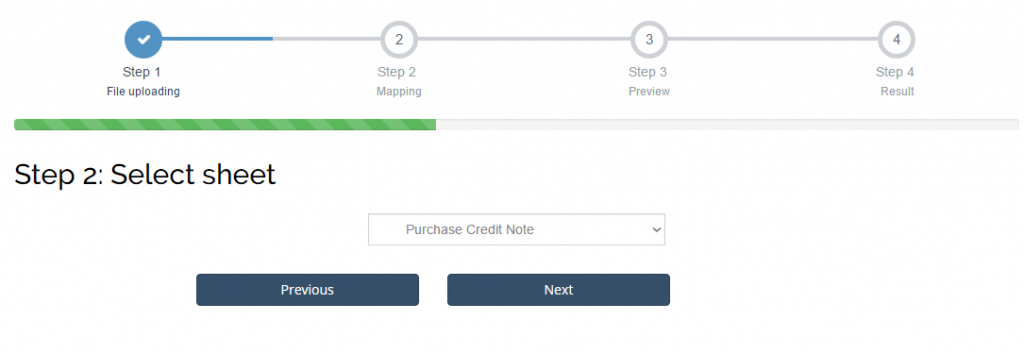 Import Purchase Credit Notes into Sage One: select sheet