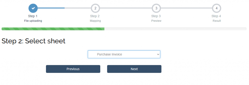Import Purchase Invoices into Sage One: select sheet