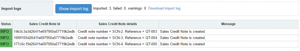 Import Sales Credit Notes into Sage One: check out Import Log