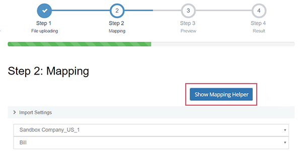 Import Data to QuickBooks Online: button Show Mapping Helper