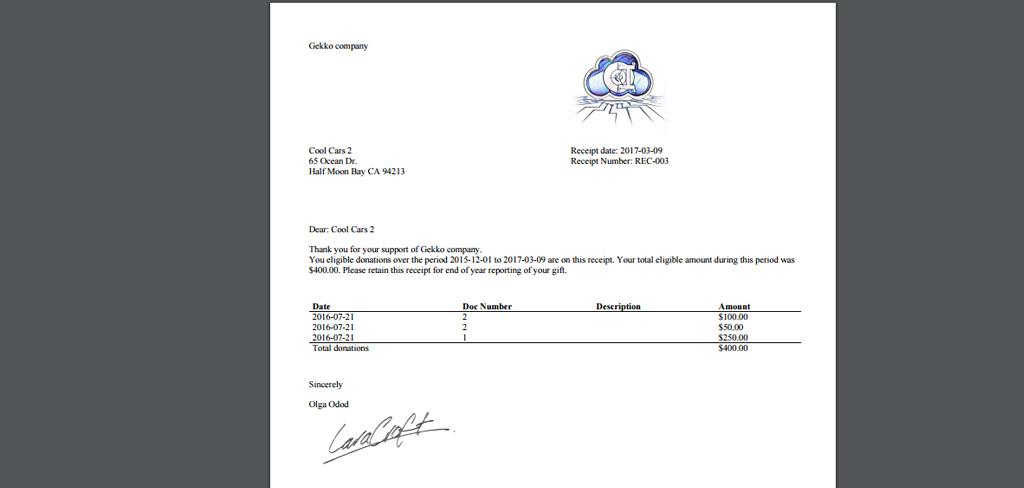Get Donor Receipts