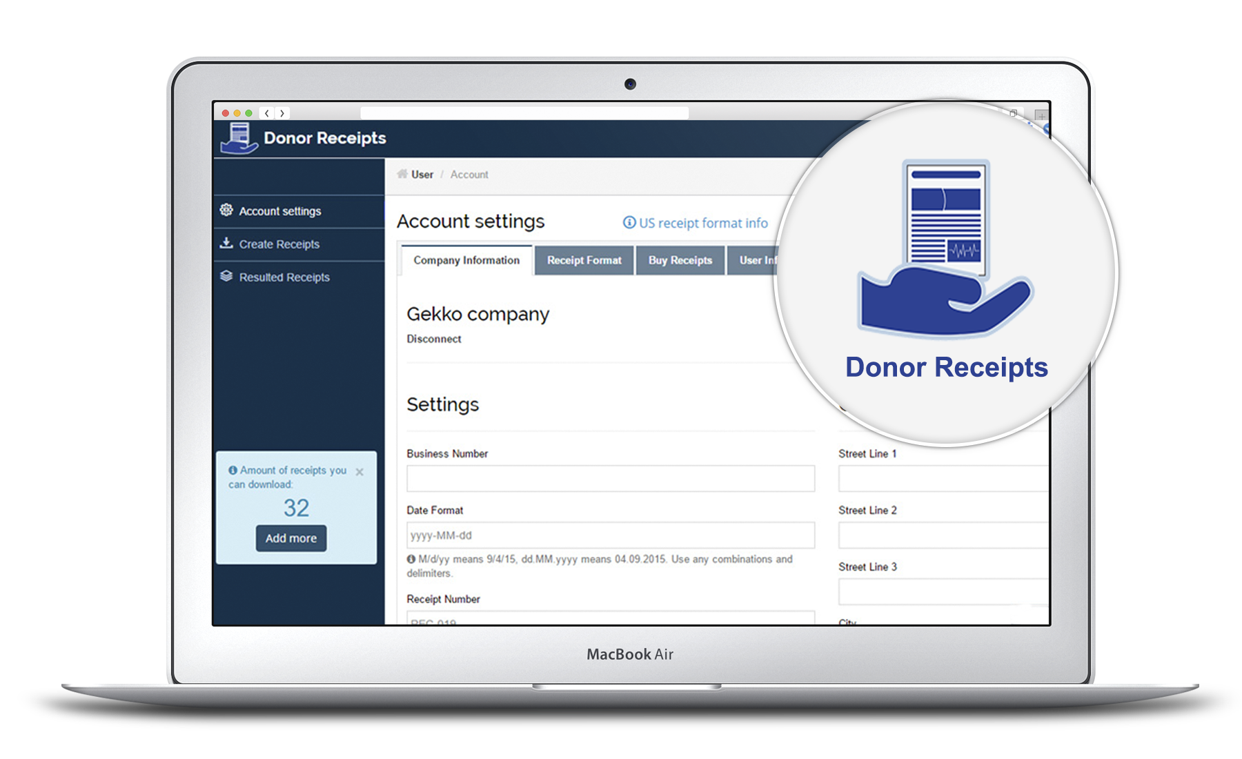 Donor Receipts main