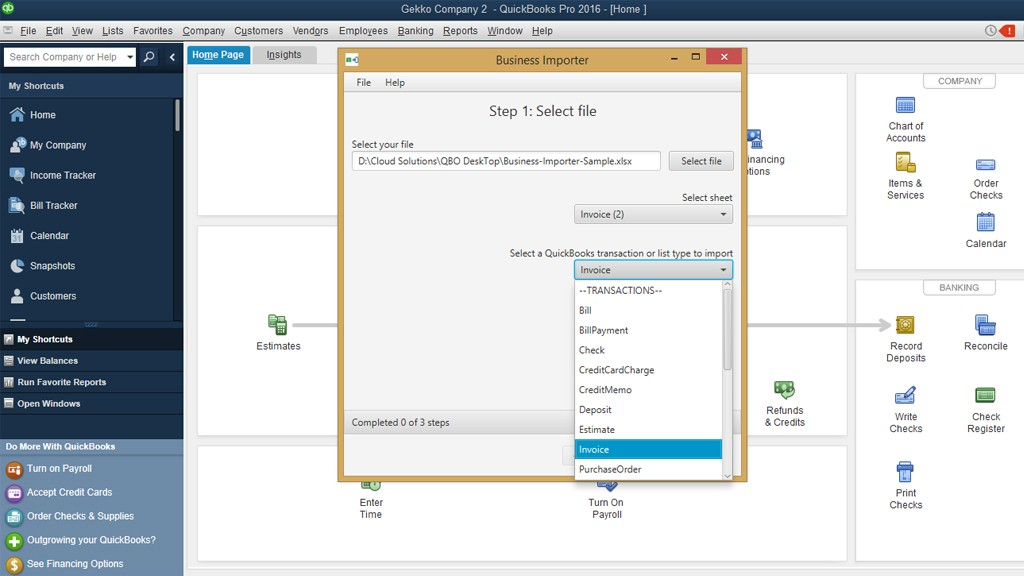 Import invoices into QuickBooks Desktop: Upload file