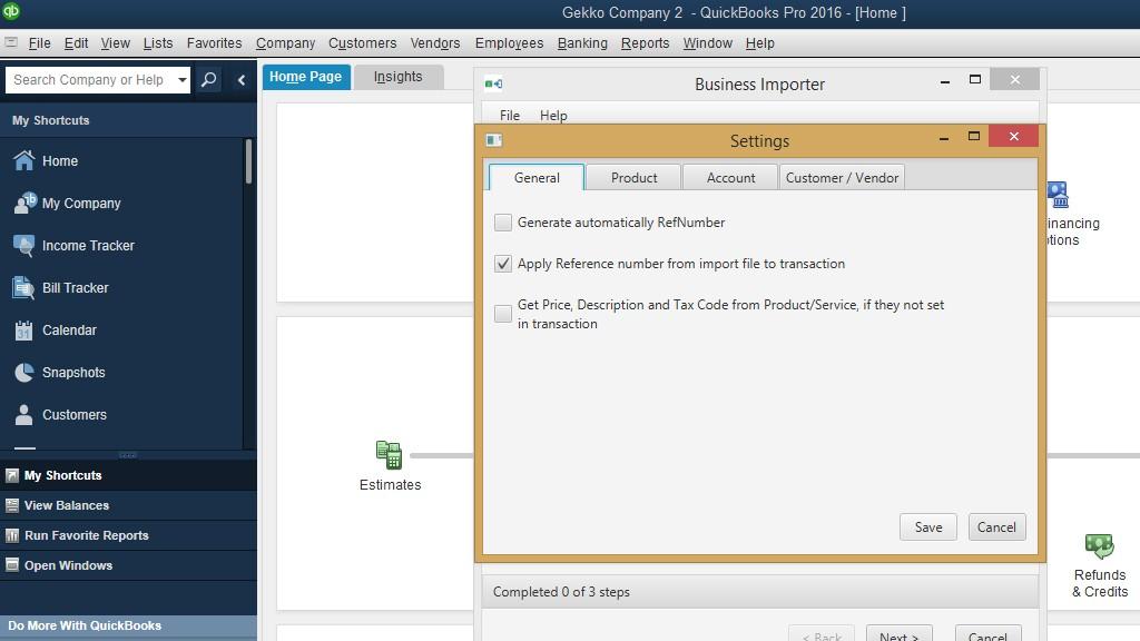 Import invoices into QuickBooks Desktop; Settings