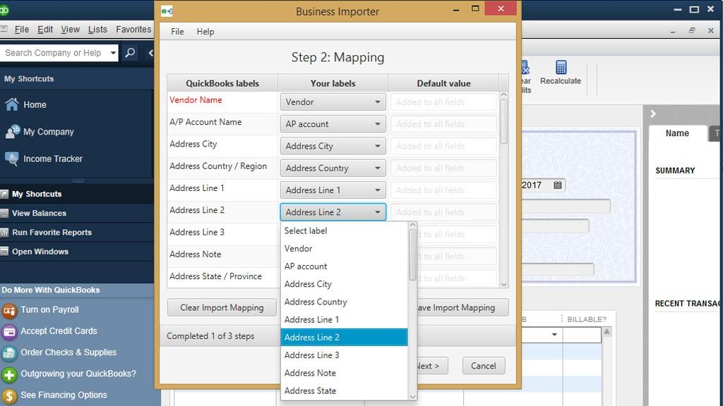 import Bills into QuickBooks DesktopL Mapping step
