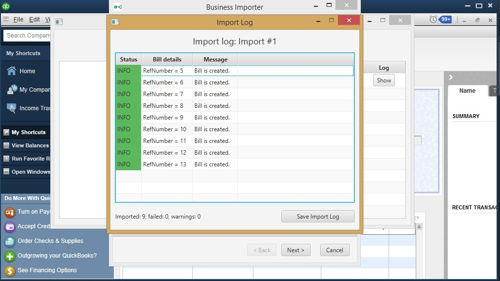 import Bills into QuickBooks Desktop: import log