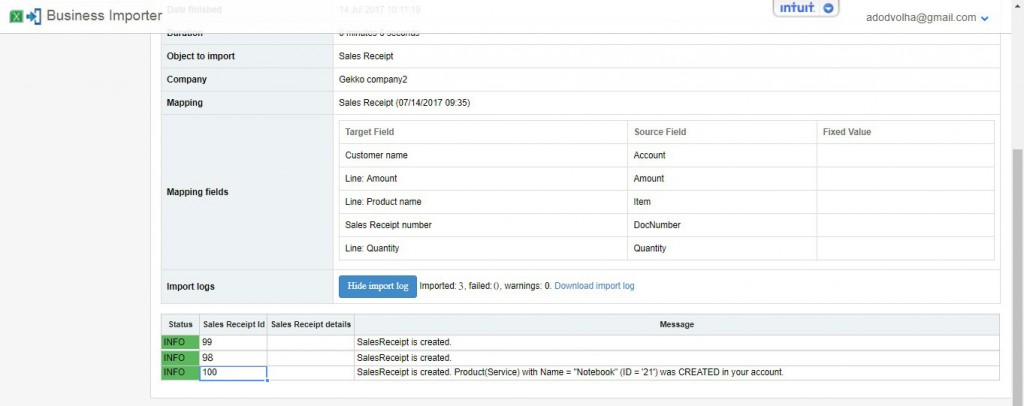 Import Log - Import Sales Receipts with merchant fee into QuickBooks Online