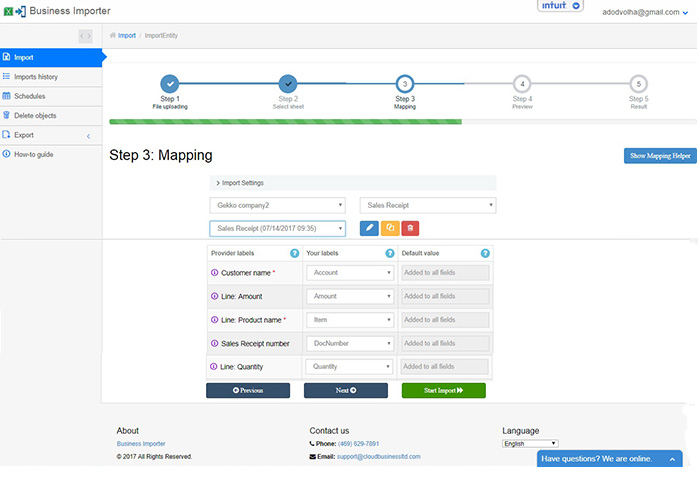 Mapping step: Import Sales Receipts with merchant fee into QuickBooks Online