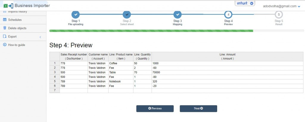 Preview: Import Sales Receipts with merchant fee into QuickBooks Online