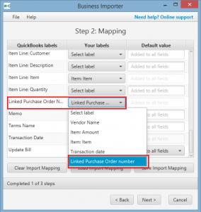 Import transactions to QuickBooks Desktop: PO linked