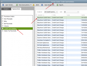 Import transactions to QuickBooks Desktop: credit card