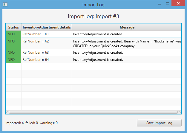 Import Inventory Adjustments into QuickBooks