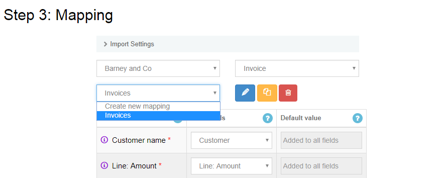 import transactions to quickbooks online: saved mapping