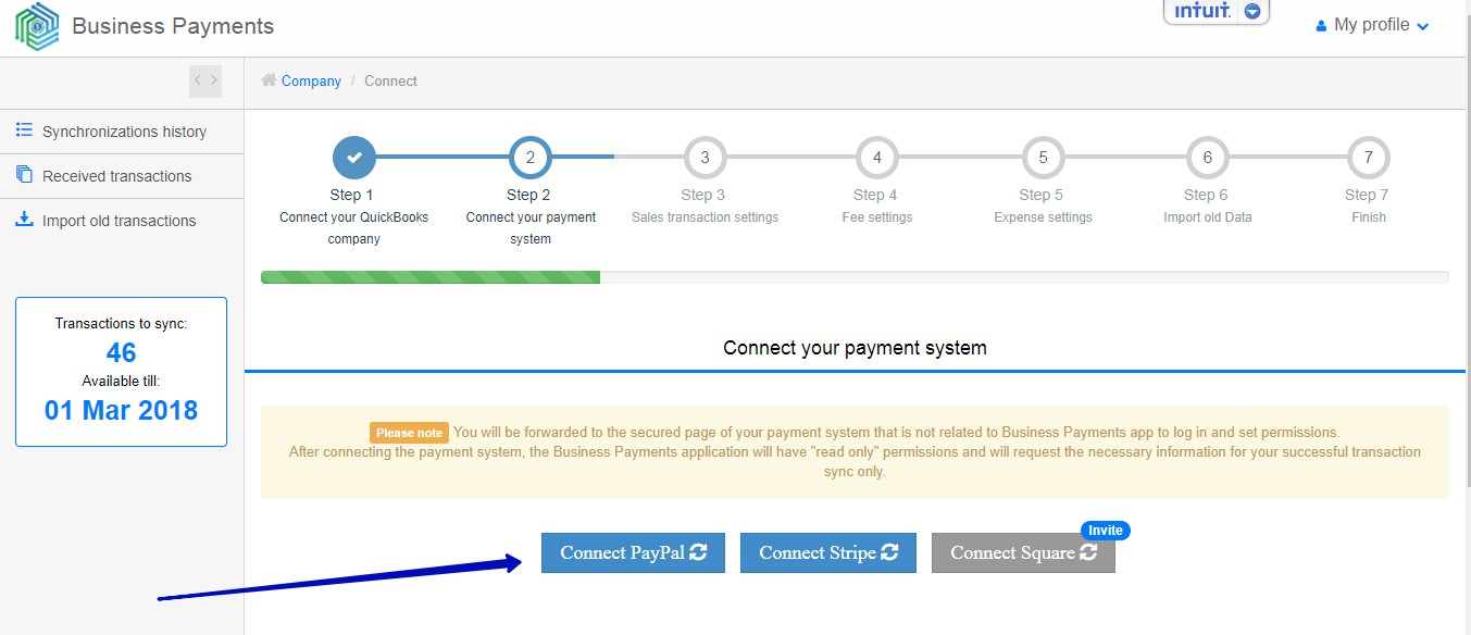 Synchronize transactions between PayPal and QuickBooks Online