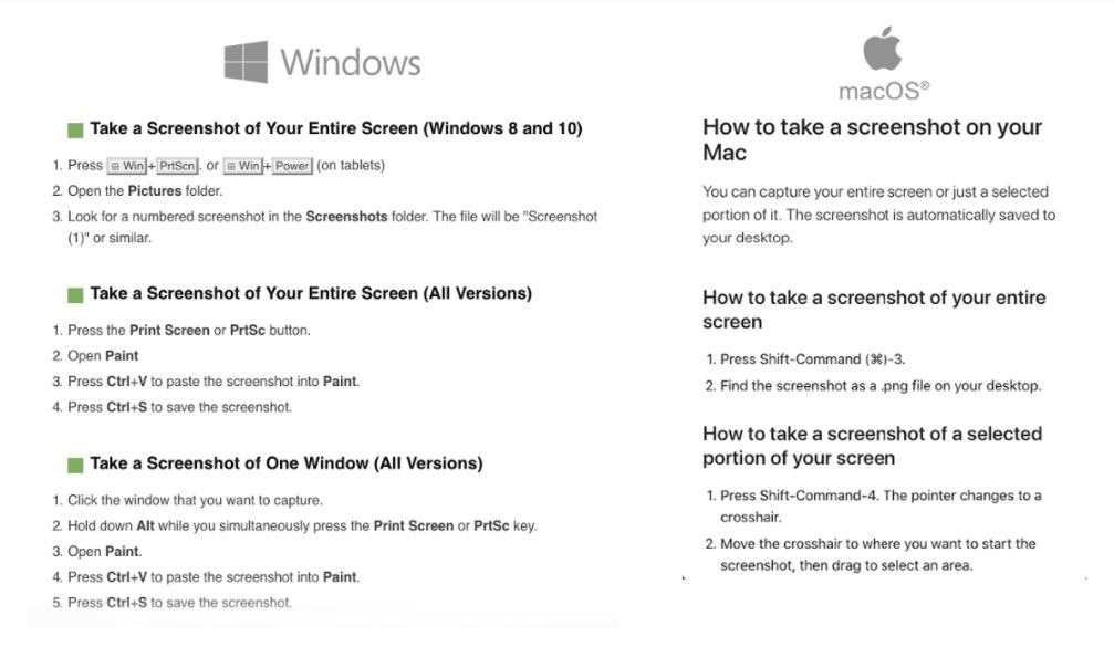 How to make screenshots