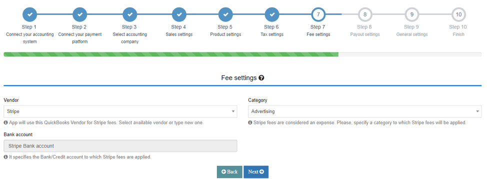 Set up your Fee settings Tab