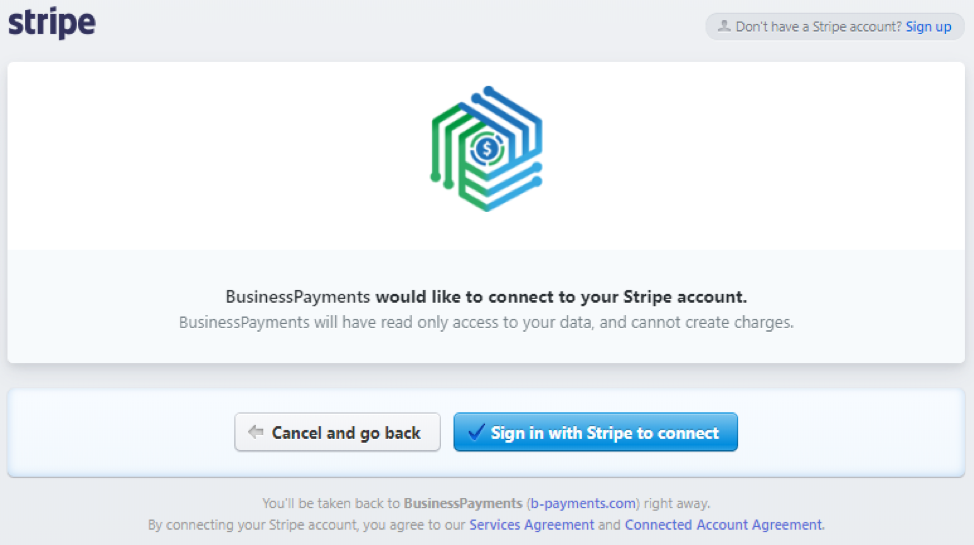 the Stripe homepage to grant your permission
