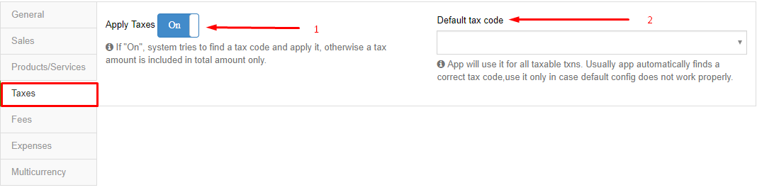 Synder Taxes Tab Settings