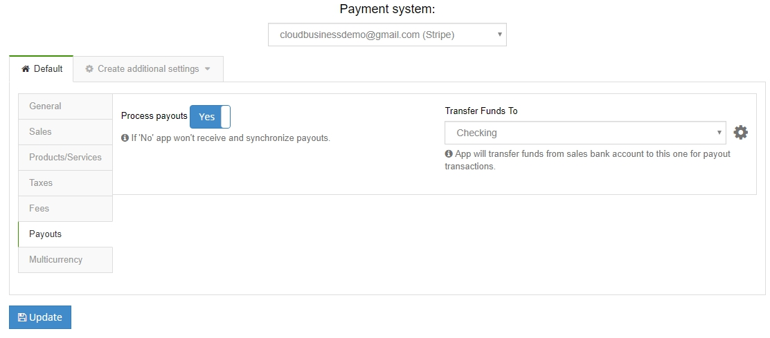 Enable Payout in the payouts tab