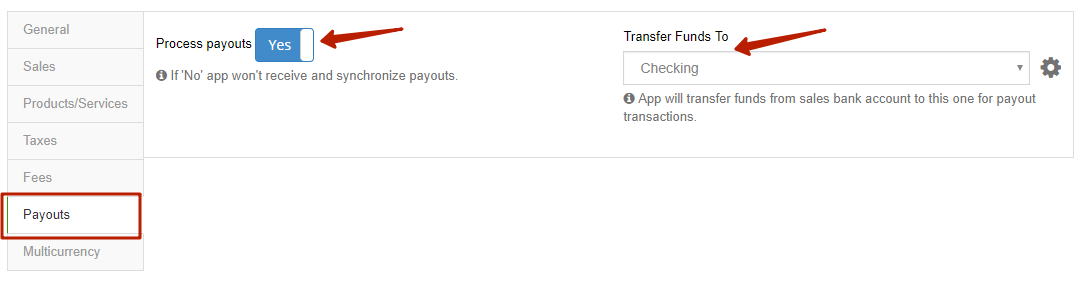 Payouts Tab in Synder to enable Payouts