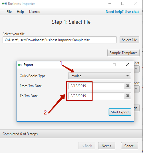 Business Importer Desktop - Export Feature