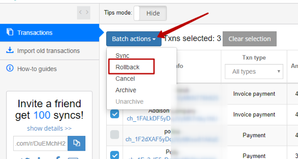 Batch Actions menu and Rollback.