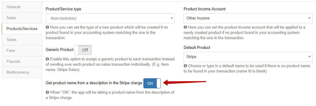 Option to parse product information from Charge description