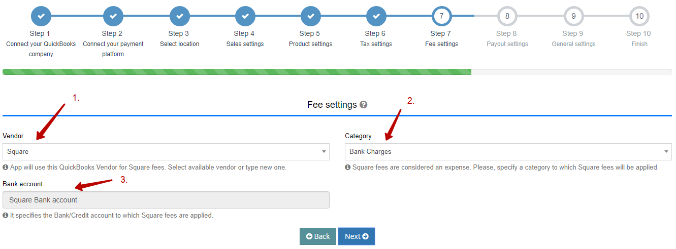 Fees Settings to integrate Square with QuickBooks Online