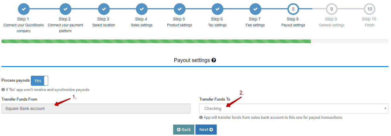 Payout Settings for Square QuickBooks Integration