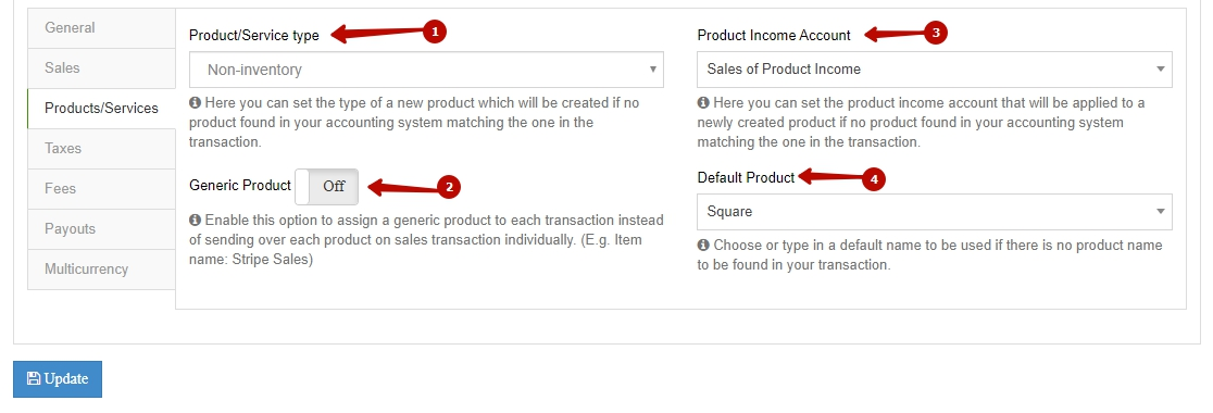Sync Square with QuickBooks and set up your products/services settings
