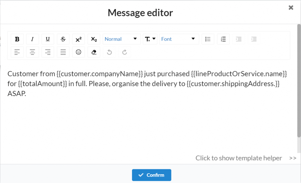 Message Editor of Product Delivery Request Flow