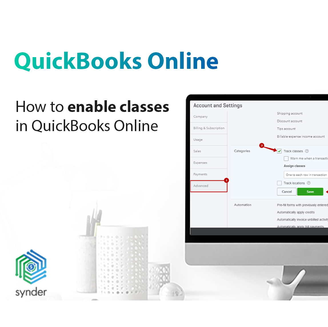 Enables classes in QuickBooks Online