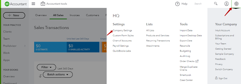enable classes in QuickBooks