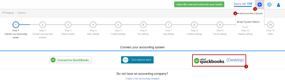 add company to syncs Stripe with QuickBooks