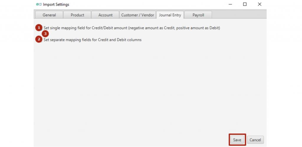 Journal Entry tab settings for Business Importer Desktop