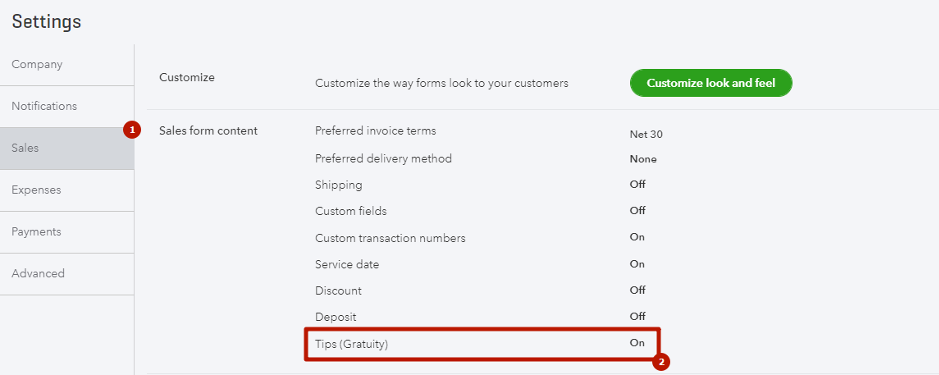 Check if the Tips(Gratuity) are enabled in your QuickBooks Company settings